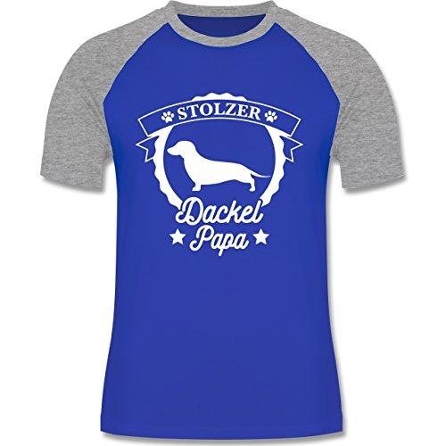 Shirtracer Hunde - Stolzer Dackel Papa - Herren Baseball Shirt Royalblau/Grau meliert