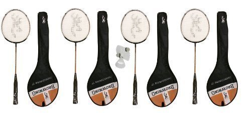4 X Browning Nanofire Badminton Rackets + Carry Cases + 3 Shuttles