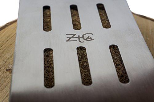 41AegxTXxlL - ZTC Räucherbox | inkl. Rezept | rostfrei | Edelstahl | langlebig | Grillzubehör | Gasgrill | Kohlegrill | besondere Rauchnote | großes Volumen | Smokerbox | Anleitung | Männer Geschenk