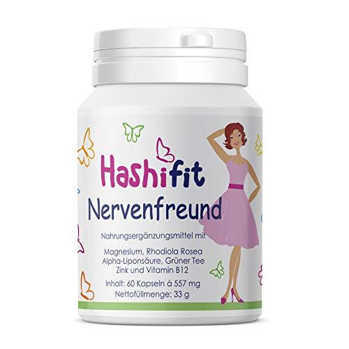 Hashifit® Nervenfreund 60 Kapseln | Hilfe in stressigen Zeiten, bei Konzentrationsschwäche | mit Rhodiola, B12, Magnesium u.a. -