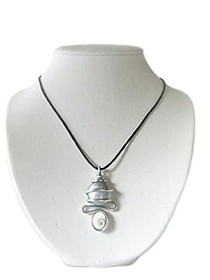 """Pendentif""""perle de verre grise"""" avec un Oeil de sainte lucie le porte bonheur"""