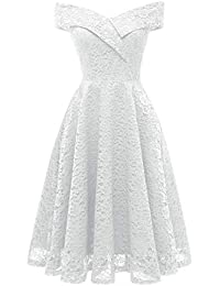 bc395fa33058 Bright Deer Women Bardot Lace Vintage Midi Skater Dress Party Cocktail  Special Occasion