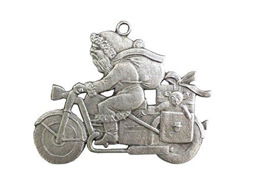 Nikloaus auf Motorrad beidseitig, von Hand patiniert als Zinnfigur, Baumbehang, Weihnachtsanhänger, weihnachtlicher Zierschmuck