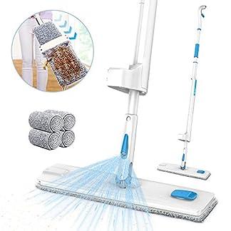 JASHEN Mopa con Pulverizador, Fregona con Limpiar Automático Mopa con 4PCS Paño de Microfibra, 360° Giratoria para Limpia Seca y Húmeda para Suelos Laminados, Azulejo y de Madera