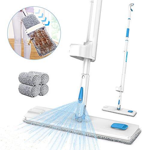 Lavapavimenti a spruzzo, jashen autopulente mocio in microfibra con capacità rotante di 360°, spray mop con 4 panni sostituibili adatti a pavimenti di legno duro o laterizio
