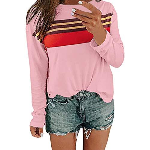 Bluse Tops Pullover,Honestyi Frauen Streifen Patchwork O Ansatz langes Hülsen Hemd beiläufige Tunika übersteigt Bluse Frauen Casual Striped Rundhals Langarm T-Shirt Top(Rosa,S)
