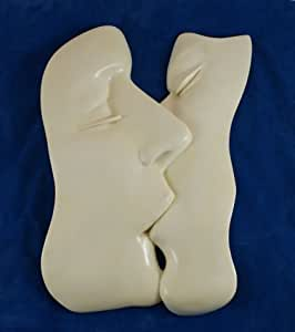 The Kiss Lovers Wall Sculpture Deco Anniversary Gift