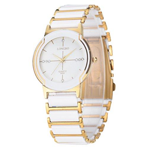 LONGBO Luxury Unisex Oro Bianco Bracciale in ceramica orologi casual Couple Orologio elegante cristallo Rinestone impermeabile business orologio da polso per signore - Moon Phase Guarda