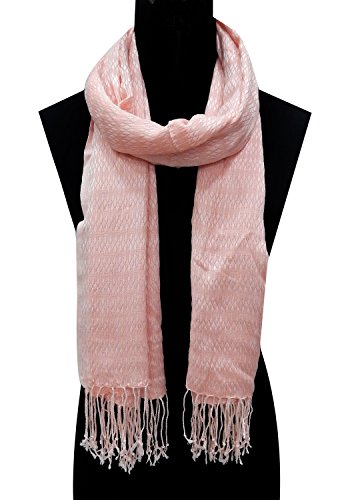 URBAN TRENDZ - Viscose Dobby Solid dyed fancy Scarf with twisted fringes...