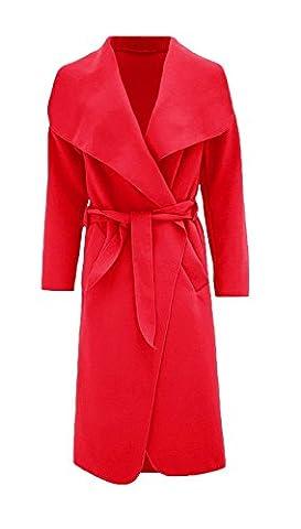 Hina Fashion Frauen-Damen Italienisch Wasserfall Belted Langarm-Mantel-Jacken-Top (One Size Fits 8-16, Rot)