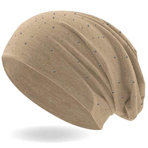 Hatstar Strass Nieten Steine Jersey elastisches Long Slouch Beanie Unisex Herren Damen Mütze (beige)