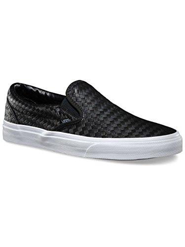 Vans Classic Slip On Unisex Embossed Leather Black/White 4uk