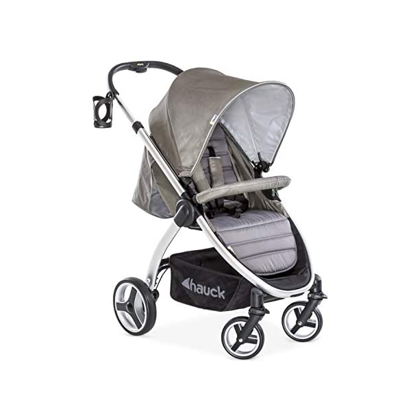 Hauck Lift Up 4, Lightweight Pushchair from Birth to 25 kg, Quick Fold with One Hand with Lying Position, Telescopic, Height-Adjustable Push Handle, Cup Holder, Charcoal Hauck EASY FOLDING - Thanks to its One-Hand-Fold mechanism, this pushchair is folded away within seconds up to a small size. This can be easily transported by the carry strap, leaving one hand free for your little one LONG USE - This buggy can be used over a long period of time as it is suitable from birth thanks to lying position and up to 25 kg. It can also be combined with the hauck Comfort Fix infant car seat + adaptors or hauck 2in1 Carrycot COMFORTABLE - Thanks to backrest and footrest beign adjustable into lying position which is suitable for bigger children, too, as well as large sun hood with UV protection and height-adjustable, telescopic push handle 1