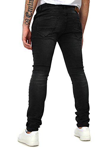 Free Side Herren Jeans MADRID Slim Fit Destroyed Vintage Look leicht verwaschen Schwarz