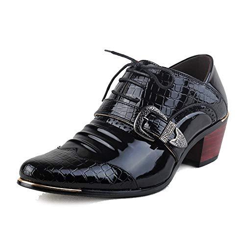 Fang-shoes, 2018 Casual Business-Oxfords im britischen Stil für Männer mit erhöhtem Absatz und Krokodil-Print (Color : Schwarz, Größe : 42 EU)