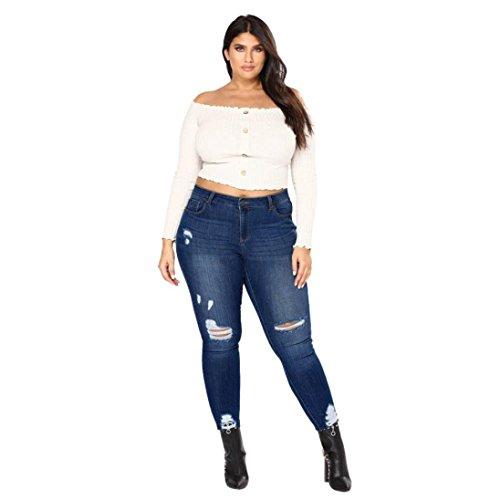 Frauen Skinny Jeans,VENMO Plus Size Zerrissene Stretch Slim Denim Hosen Hohe Taille Hosen Damen Butt Lift Distressed Jeans Skinny Denim Hose Boyfriend Jeanshose Zerrissen Röhre Loch Denim Hosen Jeans Hose (Dark Blue, 3XL) (Plus Jeans Size Damen)