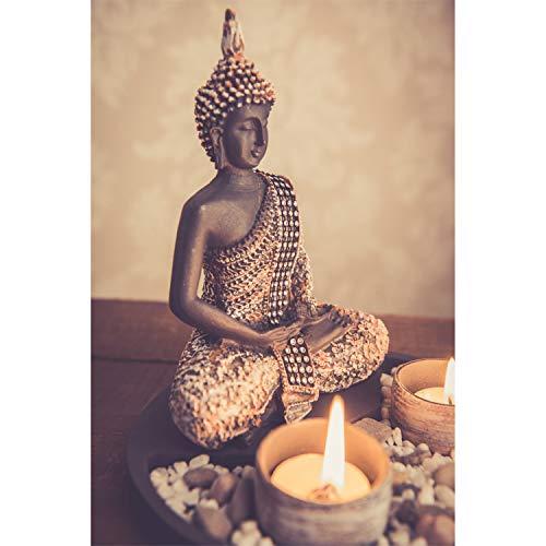 Buddha Sitzend mit Teelicht Deko-Statue - 5