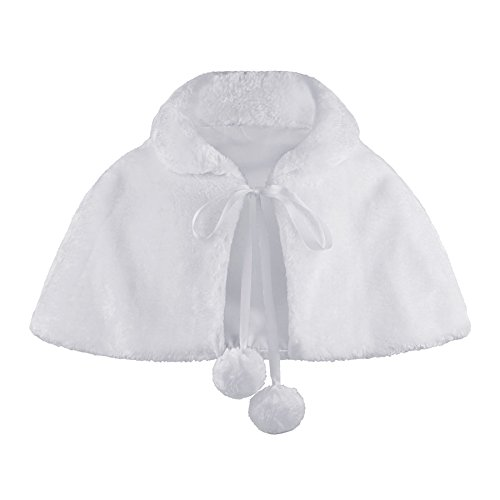 RageIT Lotmart Mädchen Kunstfell Brautjungfer Umhang Pompom Krawatte Stola Bolero - Weiß, 116 - Mädchen Kunstfell