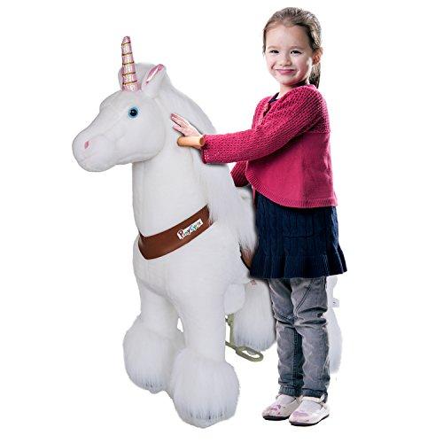 PonyCycle ORIGINAL Einhorn,Pony auf Rollen Fahrendes Schaukelpferd und Kuscheltier Ride on Pony Unicorn Medium
