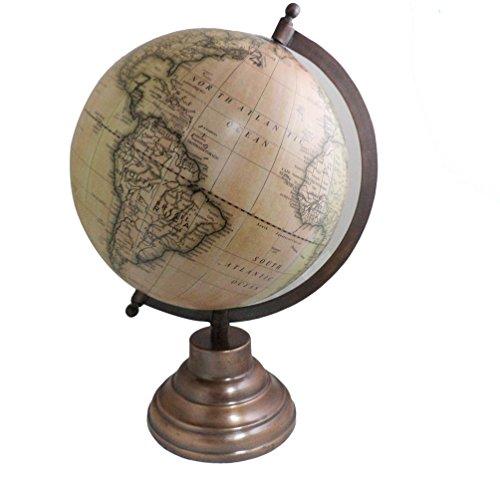 Antiken Tisch 35,6cm Globe Handgefertigter Globus Deko Eisen Ständer Plastik Globe Globe - Eisen-tisch-ständer