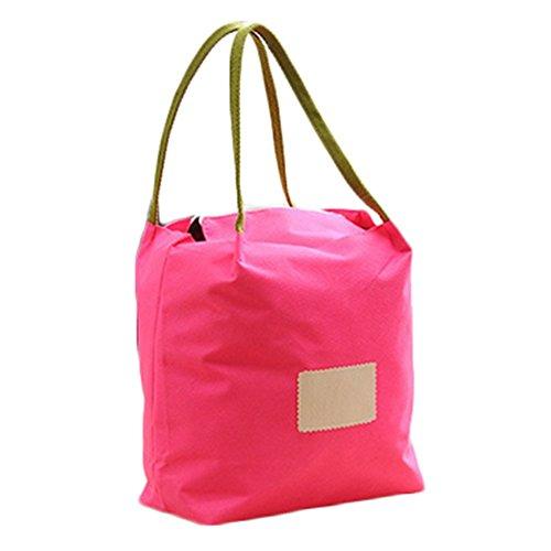 Demarkt Kleine Einkaufstasche Handtasche Lunchtasche aus Oxford Rose Rot 26*26*16cm Rose Rot