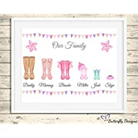 Personalised Wellington Boots Family Watercolour Premium Print Picture A5, A4 & Framed Options, Welly Art - Design 6