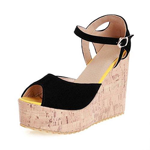 Voguezone009 donna fibbia sbirciare tacco alto pelle di mucca sandali, nero, 31