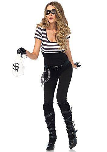 Leg Avenue 85530 - Kostüm Set Bankräuber, Damen Fasching, S, schwarz/weiß (Catsuit Kostüm)