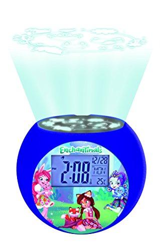 Lexibook Mattel Enchantimals Felicity Renard & Flick Radio réveil projecteur, effets sonores, à piles, violet RL975EC
