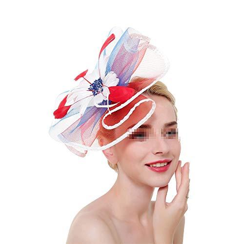 Liuxiaomiao Fascinator Hüte für Frauen Feder Party Hüte Bridal Kentucky Derby Stirnband 12 Farben optional (Color : Flag Color)