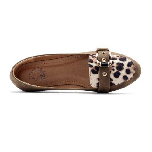 Alexis Leroy Damen Geschlossene Ballerinas Ebenen Schuhe Leopard Khaki