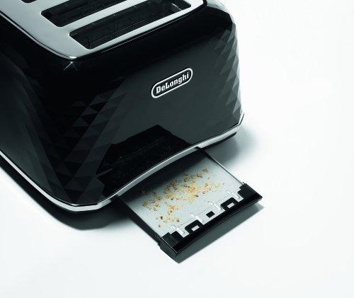 De'Longhi CTJ4003.BK Brillante Faceted 4 Slice Toaster – Black