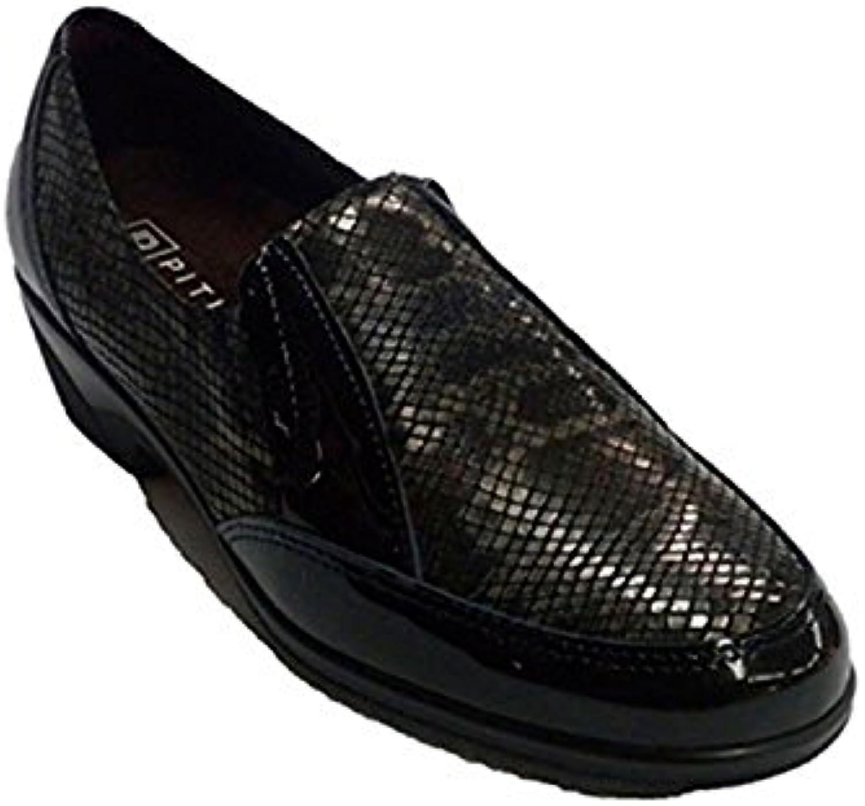 PITILLOS Zapato Mujer Pala Licra simula Dibujo Serpiente EN Negro