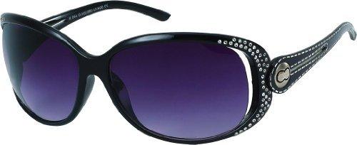 Damen Sonnenbrille Art. 8169-2, mit Strass, schwarz/schwarz