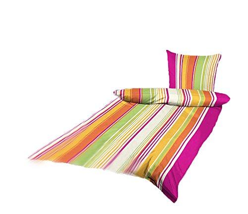 Bettwäsche Mikrofaser Bettbezug Streifen Muster 2 teilig 135x200 155x220 (Pink-orange-grün gestreift, 155x220 cm) (Bett-bettwäsche-stoff)