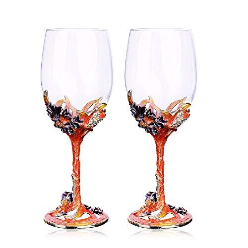 AI BEI Weingläser-Set Stemless-Glas mit handgemaltem Email-Iris-Becher Rotwein-Weingläser Crystal Cup Feet Stem für Rot- und Weißweine Stem Martini Glas