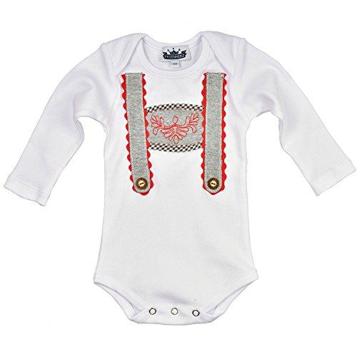 Baby Body langarm weiß mit Hosenträger Applikation und gesticktem Steg mit Druckverschluss im Schritt in Größe 74 - süßer Trachtenlook