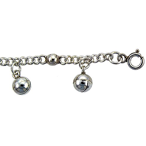 Revoni Sterling Silver Curb Link Anklet w/ Beads & Chime Balls