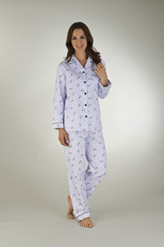 Slenderella flanelle à manches longues Bow Imprimer Pyjama - bleu ou rose Bleu