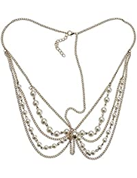 Fayon Contemporary Statement Golden Chain With Pearl Tikka And Drops Headgear