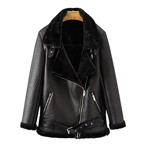 ZKOO Femme Hiver Veste Chaud En PU Cuir Fausse Fourrure Elégant Épaissir Velours Slim Fit Moto Manteaux