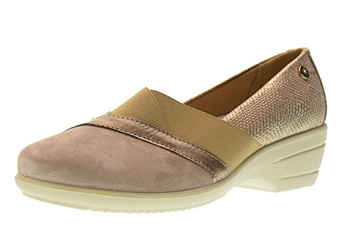 Enval soft 12543 Ecru' Scarpa Donna Decolletè CON Zeppa Pelle Made In Italy