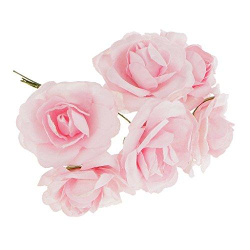 144pcs Mini Papier Künstliche Rosen Köpfe Blumen DIY Fertigkeit Hochzeit Dekor - Rosa, S