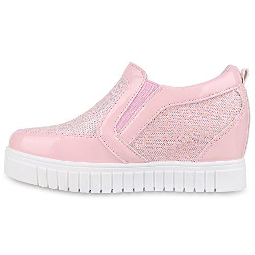 Damen Sneakers Keilabsatz Sneaker Wedges Lack Pailletten Rosa