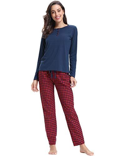 Aibrou Damen Lang Kontrastfarbe Pyjama Set, Zweiteiliger Rundhals Schlafanzug Langarm Shirt und Karierte Pyjamahose Marineblau XL