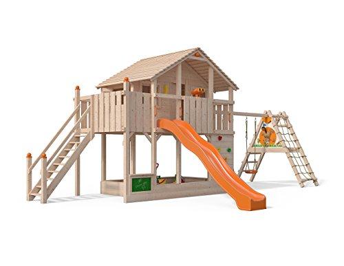 ISIDOR Centurio Spielturm Baumhaus Schaukel Kletterturm Rutsche 1,5 m Podest (orange, erweiterter Anbau)