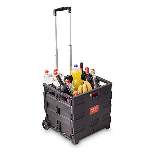 Relaxdays Einkaufstrolley, Klappbar, Einkaufsroller bis 35 kg, Verstellbarer Griff, Mit Rollen, HBT: ca. 100 x 42 x 37 cm, schwarz