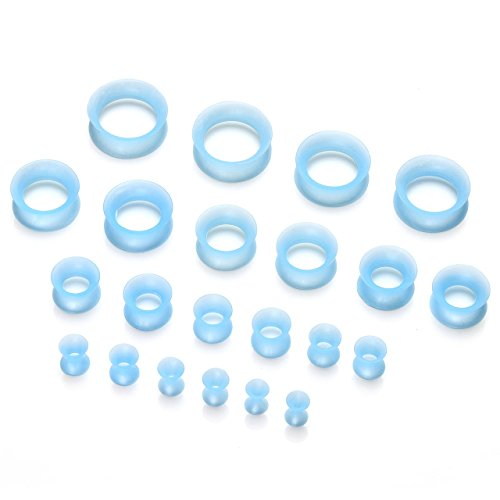 PiercingJ - 2PCS Boucle d'Oreille Ecarteur Expandeur Fin Mince Silicone Flexible Souple Creux Plug Tunnel Tambour Taper Flesh Bleu 3mm - 20mm 22pcs/Set