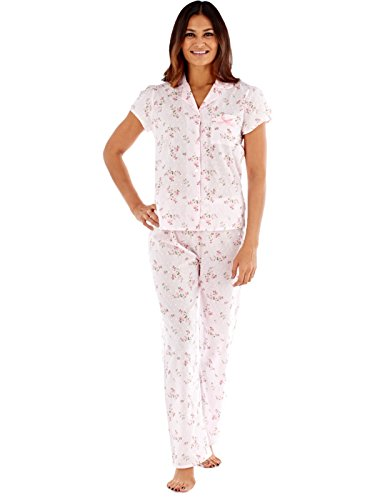 Inspirations Ladies Mia Pure Cotton court à manches longues Pyjamas LN432 Pink Floral