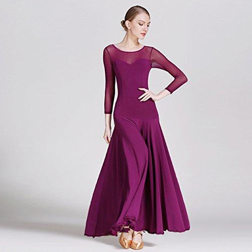Moderne Dame Großen Pendel Ice Silk Ballroom Dance Kleid Modernen Tanz Kleid Tango und Walzer Tanz Kleid Tanzwettbewerb Rock Langarm Netz Garn Kleid Tanz Kostüm,Purple,S (Swing Ballroom Tanz Kostüme)